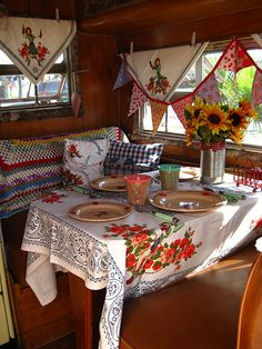 Someday I will have an Airstream of my very own, and have homemade curtains just like a gypsy!