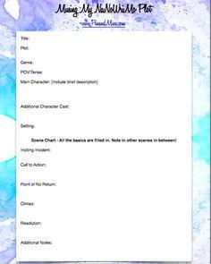 NaNoWriMo Plot Worksheet (plus others).