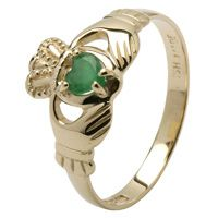 Real heart Emerald traditional Claddagh Ring | Kathleen's of Donegal Irish Imports and Gift Shop | Claddagh and Emerald Rings | Irish Foods | Belleek China | Galway Crystal | Irish Knit Sweaters | First Communion and Christening | Free Shipping in the United States