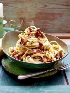 Spaghetti mit Pfifferlingen und Aioli-Soße