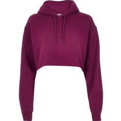 River Island Purple cropped hoodie ($32) ❤ liked on Polyvore featuring tops, hoodies, purple, sweatshirts, long sleeve hoodies, hoodie crop top, tall hooded sweatshirt, hooded pullover and purple hoodie
