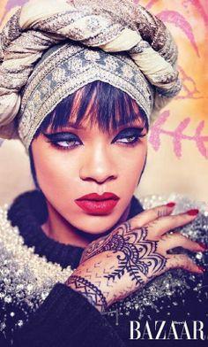 Rihanna | Harper's Bazaar Arabia | July 2014 | cynthia reccord. The Wrap is fierce!