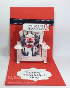 Kelly Booth using the Pop it Ups Adirondack Chair, Buster the Dog, Rectangle Accordion(decorator dies), Props1 and Lorna Label dies by Karen Burniston for Elizabeth Craft Designs. - Lovin The Life I Color: A Valentine for Noah featuring Buster the Dog!