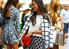 loving Aimee Song's fashion week style #blackandwhite
