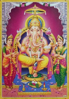 Ganesha with Riddhi and Siddhi (Reprint on Paper - Unframed)