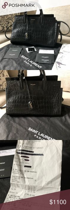 YSL Small Cabas Rive Gauche Black Croc This beauty is in excellent used  condition. Comes 462815385d092