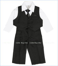 Fouger, Black Pinstripe Vest Suit and Pants with Shirt and Tie