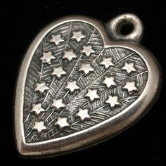 Puffy Heart Charm Vintage Sterling Silver Field of Stars