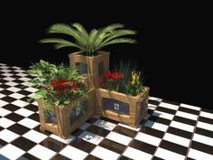 Combinación de jardineras alta y baja de la línea NOA. Combinado entre madera tintada y lacado color. Inalterables y resistentes a los agentes climáticos.