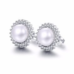 >> Click to Buy << 2017 Fashion Brand Silver Plated Noble Stud Earrings Oval Design Crystal Simulated Pearl Women Wedding Jewelry  #Affiliate