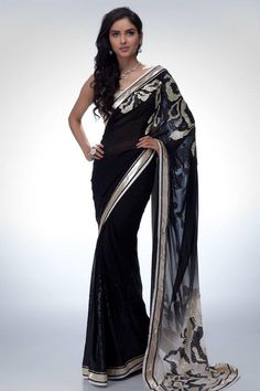 black saree with silver detail