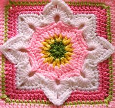 Flower Granny Square Patterns   Eight Pointed Flower - free crochet pattern   crochet - granny squares