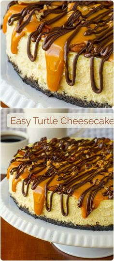 Turtle – an easy to prepare, creamy vanilla cheesecake sits on a chocolate cookie crumb base and is topped with toasted pecans, gooey caramel and chocolate; perhaps our most decadent cheesecake yet. Great for the Holidays or Turtle Cheesecake Recipes, Chocolate Cheesecake Recipes, Toppings For Cheesecake, Pecan Caramel Cheesecake, Brownie Cheesecake, Dessert Chocolate, Chocolate Chocolate, Köstliche Desserts, Delicious Desserts
