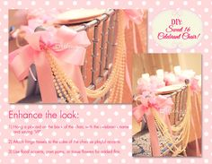Tutorial: a Sweet 16 Pearl-adorned chair made with pearl strands and pink ribbons.