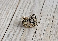 Bronze feather ring (small size) - size 6 ring - indian inspired native american ring, feather brass ring, brass feather ring* FREE SHIPPING