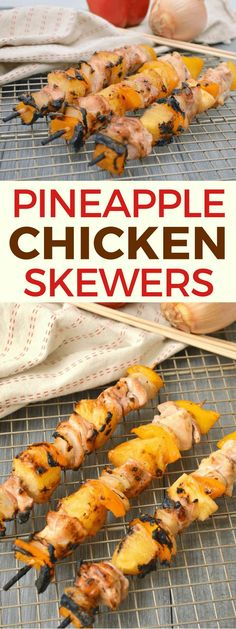 Grilled pineapple chicken skewers with a sweet and tangy polynesian glaze are a perfect for an easy family dinner option or for serving at your next BBQ. Grilled Pineapple Chicken, Grilled Chicken Recipes, Healthy Chicken Recipes, Turkey Recipes, Healthy Food, Potato Recipes, Pasta Recipes, Soup Recipes, Vegetarian Recipes