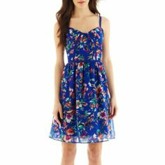 nicole by Nicole Miller® Sleeveless Floral Print Fit-and-Flare Dress