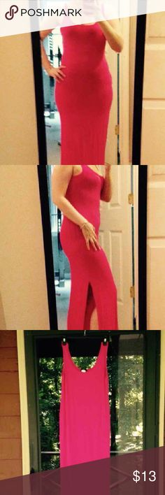 Hot pink maxi side slit dress Cute side slit hot pink maxi dress size small. Did not come with tag. I ordered this from an online boutique. This is very stretchy. Dresses Maxi