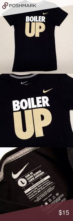 Purdue University - Nike Women's V-neck  🚂 Purdue University Boilermakers Nike Slim Fit V-neck   Size Women's Large   New without tags!!   🖤Boiler Up💛 Nike Tops Tees - Short Sleeve