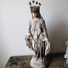 Santos Virgin Mary statue hand painted distressed French farmhouse chalkware Madonna figure large home decor anita spero design