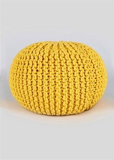 Knitted Pouffe (60cm) Yellow - Matalan