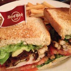 California Chicken Club Sandwich at Hard Rock Cafe in Seminole Hard Rock Hotel & Casino Hollywood.