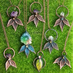 Nature inspired handmade jewelry from polymer clay by KrinnaHandmade Metal Clay Jewelry, Copper Jewelry, Polymer Clay Jewelry, Wire Jewelry, Jewelry Crafts, Jewelry Art, Handmade Jewelry, Jewelry Ideas, Jewelry Trends 2018