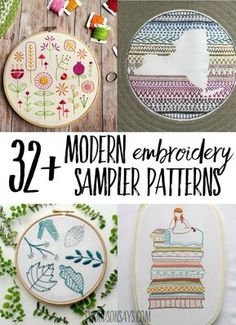 hand embroidery sampler patterns Always wanted to try embroidery? A sampler is a fun way to try a bunch of different stitches! Check out this big list of hand embroidery sampler patterns that are all modern and fun to sew. Embroidery Sampler, Embroidery Transfers, Learn Embroidery, Hand Embroidery Stitches, Modern Embroidery, Embroidery For Beginners, Vintage Embroidery, Embroidery Techniques, Ribbon Embroidery