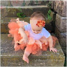 Orange Baby Pumpkin Halloween Tutu Tulle Skirt and Matching