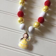 ecfe32153b9f Cumpleaños de Belle collar de princesa Belle belleza y el Collares Para  Niñas
