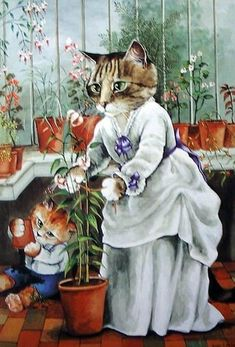Victorian Cats, Susan Herbert, Antique / Vintage Art Prints , In the Greenhouse, Print 10 I Love Cats, Cute Cats, Costume Chat, Image Chat, Fancy Cats, Gatos Cats, Vintage Art Prints, Illustration Art, Illustrations
