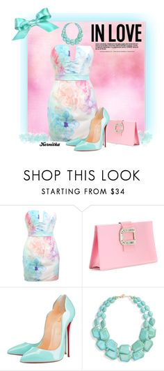"""""""nr 820 / Pastels"""" by kornitka ❤ liked on Polyvore featuring Aquarelle, Roger Vivier, Christian Louboutin and Natasha Couture"""