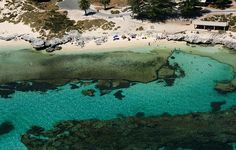 Aerial view of The Basin, Rottnest Island, Western Australia - a natural swimming pool in the reef.
