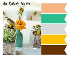 love the mustard yellow with minty turquoise and peach but would change the brown to Navy Blue or Black