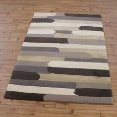 Cream Abstract Stripes Rug