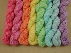 Mini Skeins Pastel Rainbow - Set of 8 - Hand Dyed Fingering Sock Weight Yarn - 100% Fine Organic Merino Wool