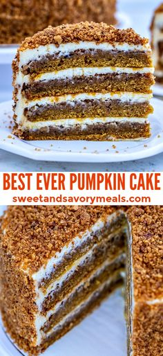 Pumpkin Cake is moist and topped with the perfect tangy cream cheese frosting. This is the best dessert to make for the upcoming fall season that everyone will love! desserts, Best Pumpkin Cake Recipe - Sweet and Savory Meals Good Desserts To Make, Fall Dessert Recipes, Fall Desserts, Fall Recipes, Recipes Dinner, Dessert Ideas, Pasta Recipes, Crockpot Recipes, Soup Recipes