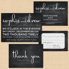 Chalkboard Wedding Invitation Suite: Save the Date, Invite, RSVP, and Thank You Card. $44.00, via Etsy.