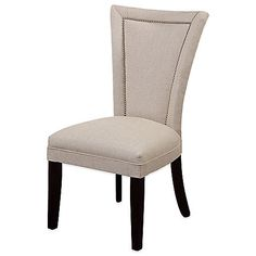 Perfect for your dining room, the Flair Linen Nailhead Parsons Dining Chair by Bassett Mirror Company blends a classic design with contemporary styling. This comfortable, transitional piece features subtle nailhead trim along the flared back.