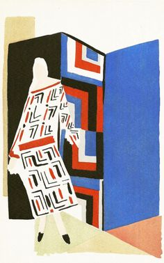 "Sonia Delaunay, 1969, ""ZIG-ZAG"" as ""Tableaux Vivants"" (originally conceived in the 1920's)."