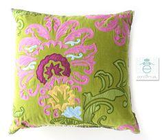 Cojin Grande Verde Flores - D244