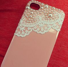 DIY phone cover. Hot glue, lace, pearls, and VOILA!