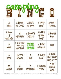 Play a round of camping-themed bingo. | 28 Genius Backyard Camping Ideas You Need To Try This Summer
