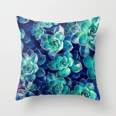 Plants of Blue And Green Throw Pillow ❤ liked on Polyvore featuring home, home decor, throw pillows, blue home accessories, blue home decor, blue toss pillows, green home decor and blue green throw pillows