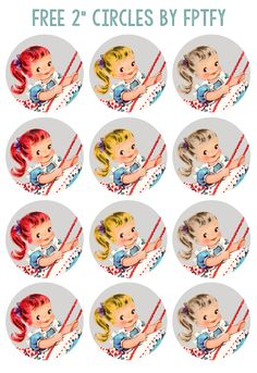 Images: Pretty Vintage Girl 2 inch Circles - Free Pretty Things For You