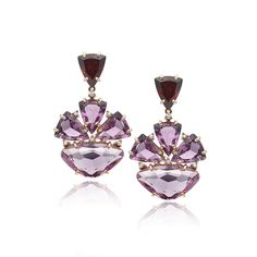 VIANNA - Amethyst, Pink Amethyst and Rhodolite Earrings with Diamonds - Make a statement all your own with these luxurious earrings abundantly rich in color and intensity. Brazilian designer Vianna chose gemstones Amethyst, pink Amethyst, Rhodolite and Diamonds set in 18K yellow Gold to express an attitude that celebrates, treasures and reflects the essence of the natural, rich beauty of the country. $3,010.00