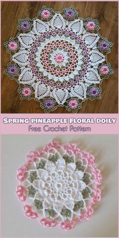 Spring Pineapple Floral Lace Doily or Coaster [Free Crochet Pattern]