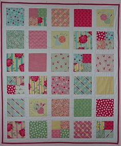 Cute idea for a baby quilt... love the idea of showcasing fabrics like this