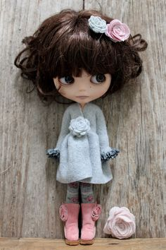 Pale Grey Fleece Wrap Dress: for Blythe.. $35,00, via Etsy.