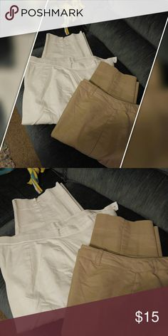 Capris bundle size 14 White by Briggs of NY, tan by Kelly both size 14. Pants Ankle & Cropped
